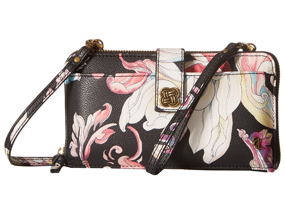 Elliott Lucca - Theo Large Smartphone Crossbody (Black Wildflower) Cross Body Handbags