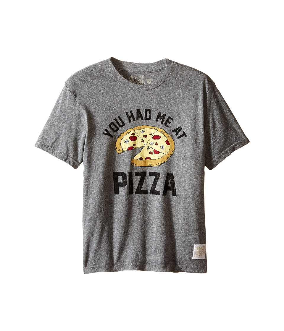 The Original Retro Brand Kids - You Had Me At Pizza Short Sleeve Tri-Blend Tee (Little Kids/Big Kids) (Streaky Grey) Boy's T Shirt