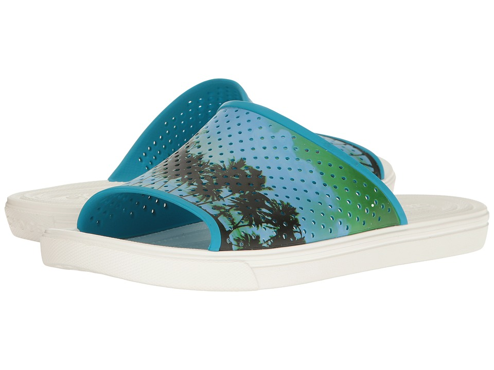 Crocs - CitiLane Roka Tropical Slide (Electric Blue/White) Slide Shoes