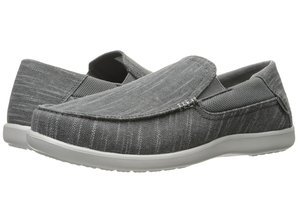 Crocs - Santa Cruz II Luxe Slub Slip-On (Charcoal/Light Grey) Men's Slip on Shoes