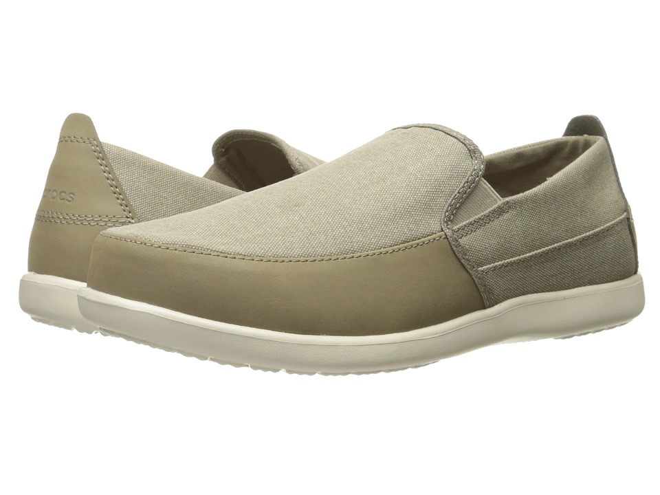 Crocs - Santa Cruz Deluxe Slip-On (Khaki/Stucco) Men's Slip on Shoes