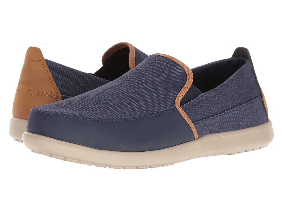 Crocs - Santa Cruz Deluxe Slip-On (Navy/Cobblestone) Men's Slip on Shoes