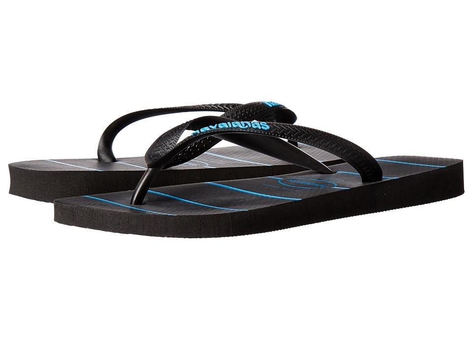 Havaianas - Top Stripes Logo Sandal (Black/Turquoise) Men's Sandals