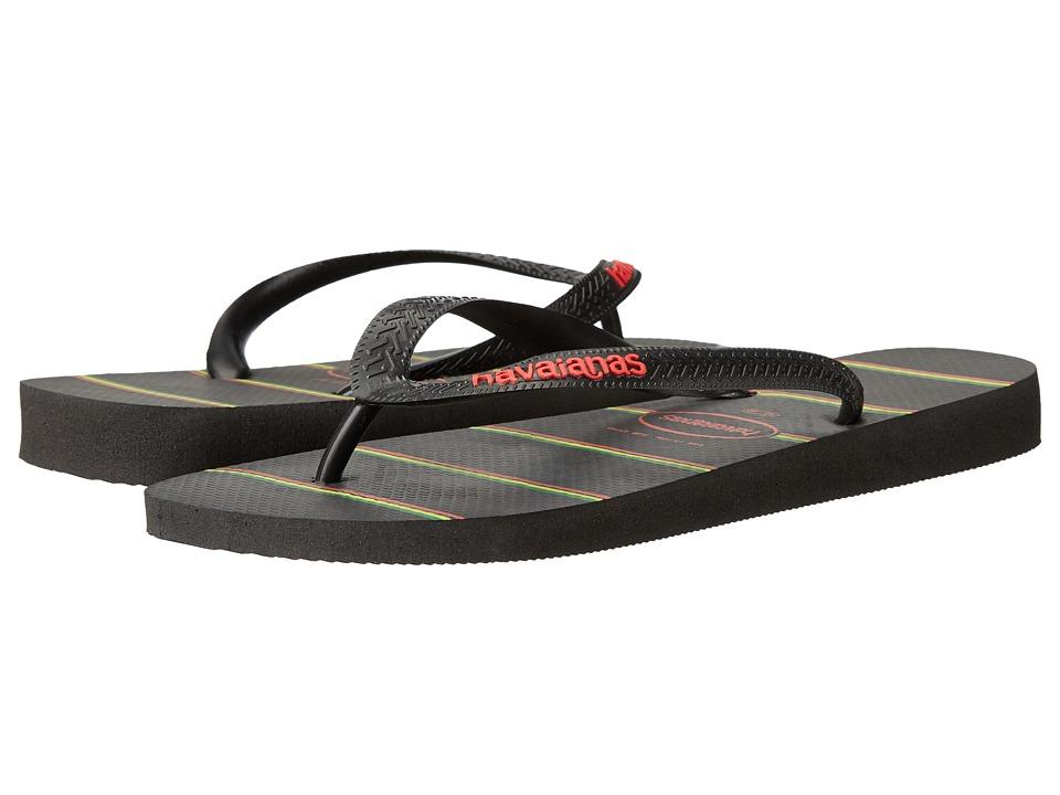 Havaianas - Top Stripes Logo Sandal (Black/Black/Red) Men's Sandals