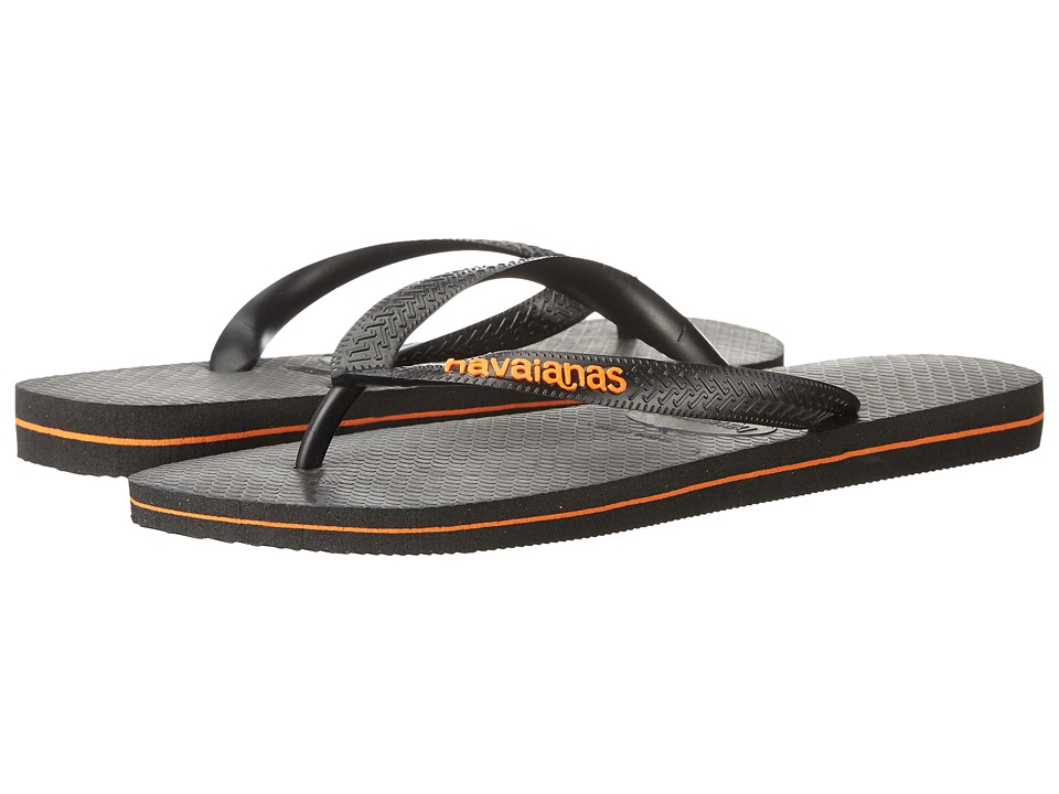 Havaianas Logo Filete Flip Flops (Black/Neon Orange) Men
