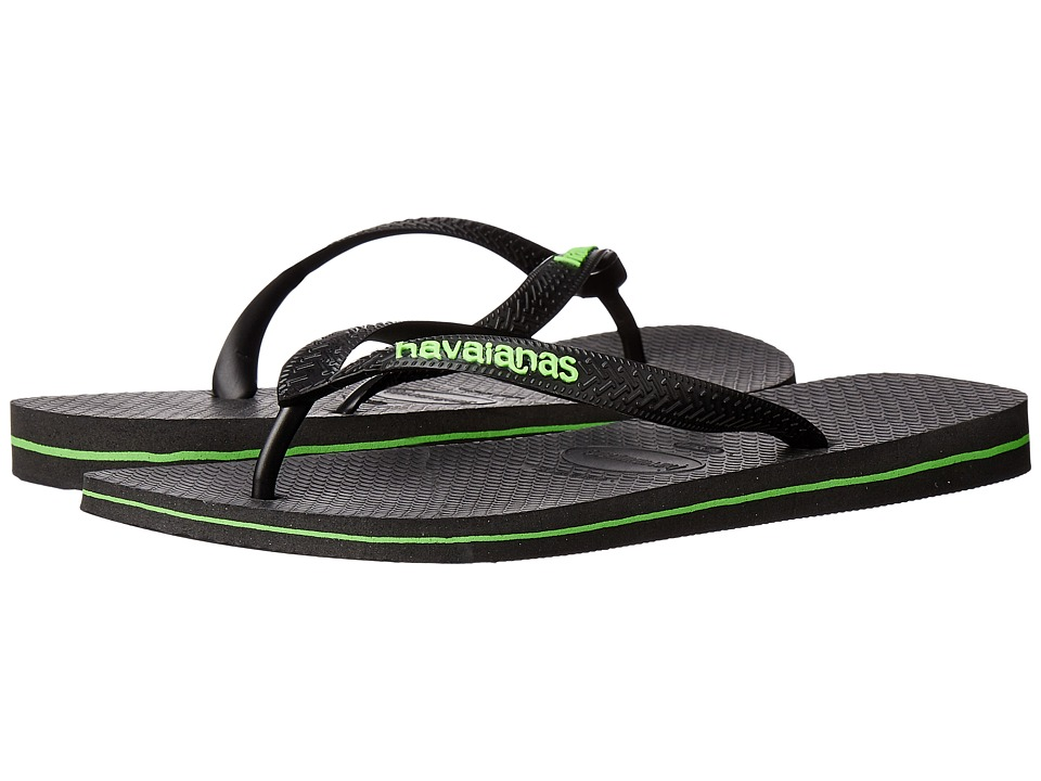 Havaianas - Logo Filete Flip Flops (Black/Neon Green) Men's Sandals