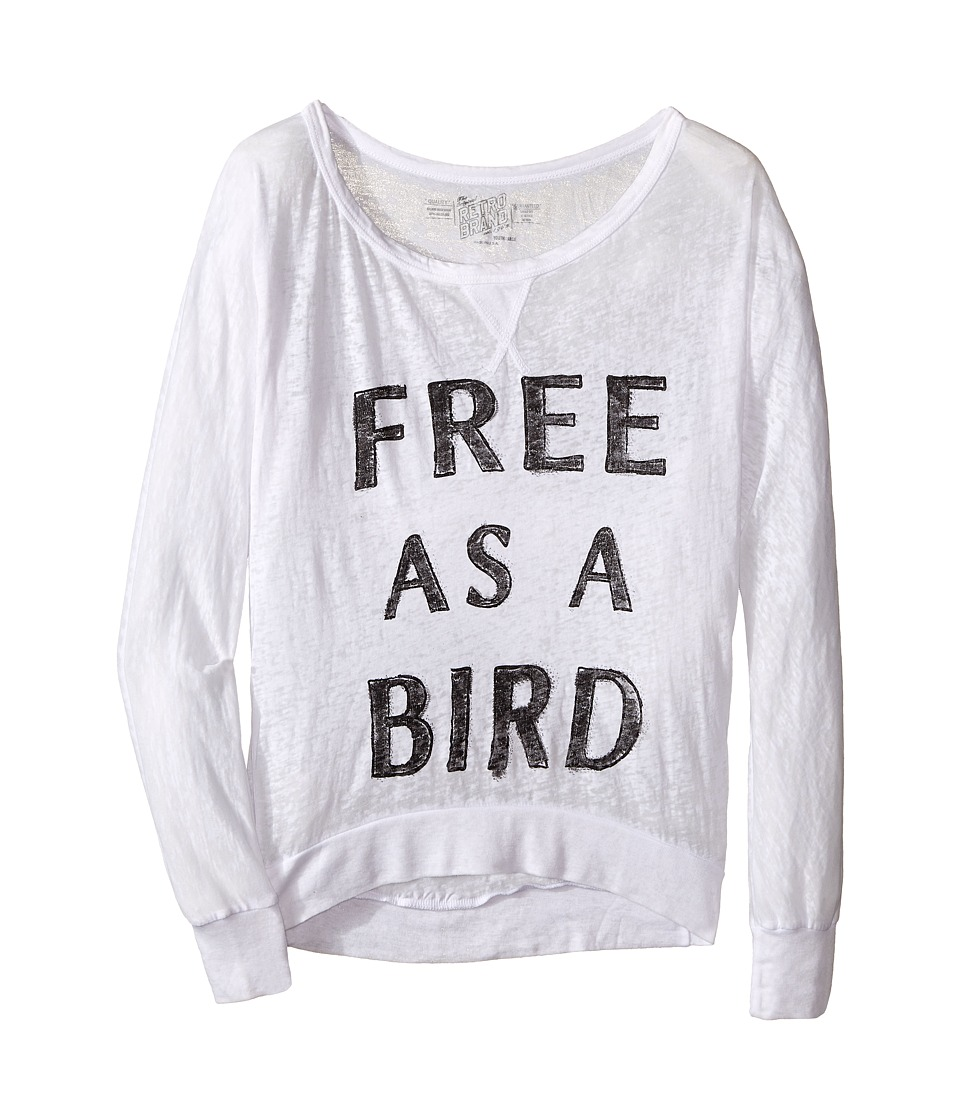 The Original Retro Brand Kids - Free As A Bird Burnout Long Sleeve Pullover (Little Kids/Big Kids) (White) Girl's Long Sleeve Pullover