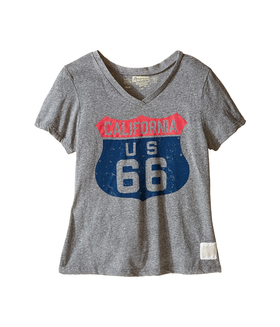 The Original Retro Brand Kids - Route 66 Streaky Tri-Blend V-Neck (Little Kids/Big Kids) (Streaky Grey) Girl's Clothing
