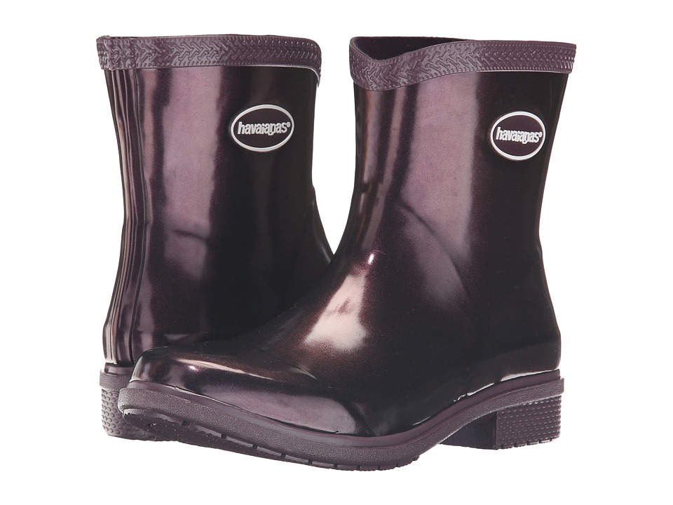 Havaianas Galochas Low Metallic Rain Boot (Aubergine Metallic) Women