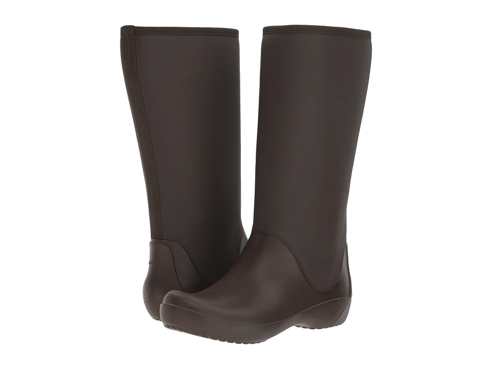 Crocs - RainFloe Tall Boot (Espresso) Women's Boots