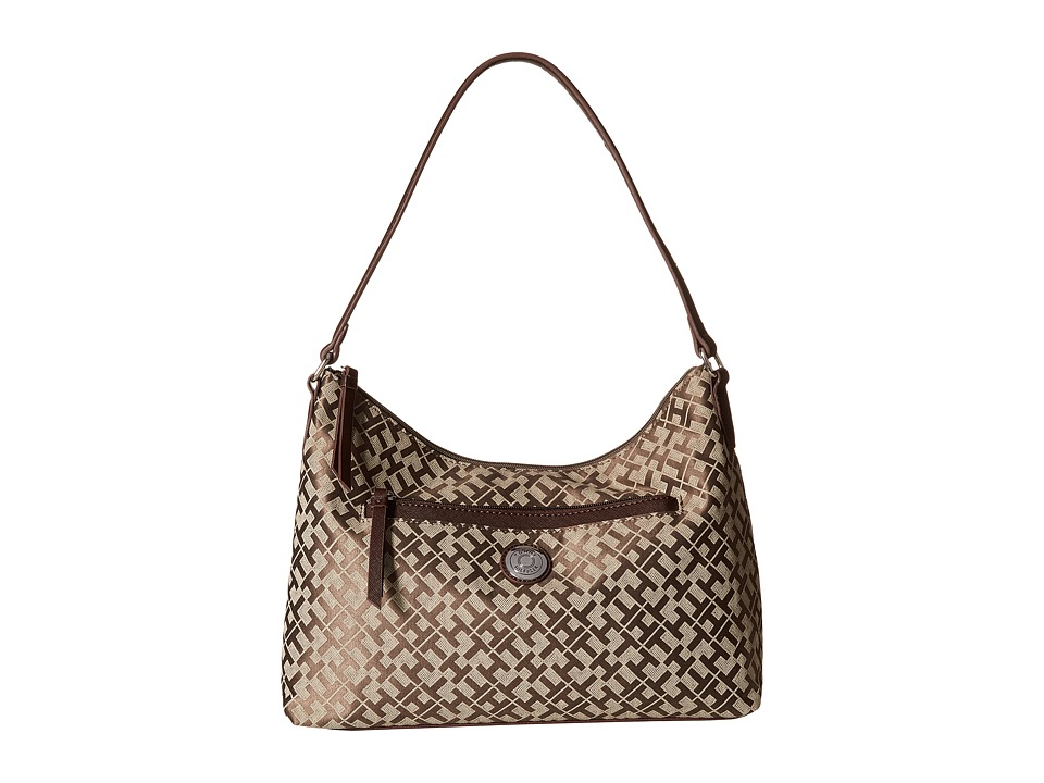 Tommy Hilfiger - Zara II - Geometric Jacquard Hobo (Tan/Dark Chocolate) Hobo Handbags