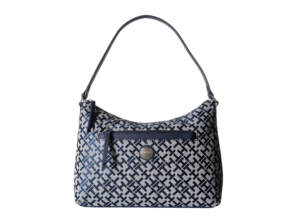Tommy Hilfiger - Zara II - Geometric Jacquard Hobo (Navy/White) Hobo Handbags