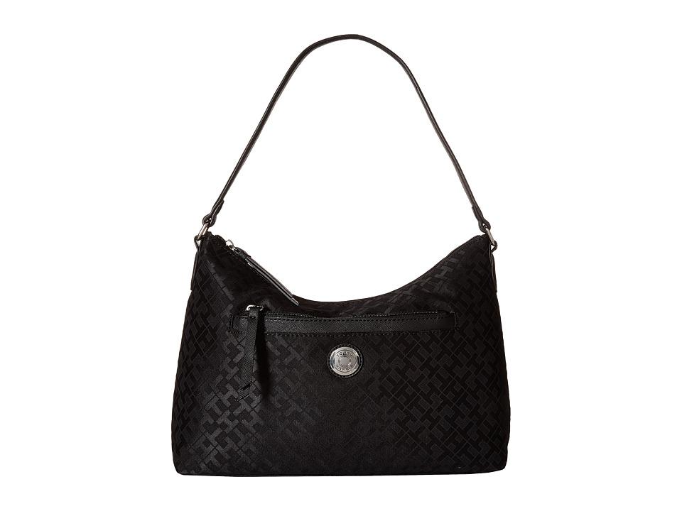 Tommy Hilfiger - Zara II - Geometric Jacquard Hobo (Black Tonal) Hobo Handbags
