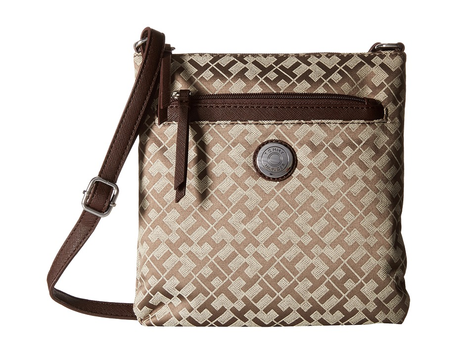 Tommy Hilfiger - Zara II - Geometric Jacquard North/South Crossbody (Tan/Dark Chocolate) Cross Body Handbags