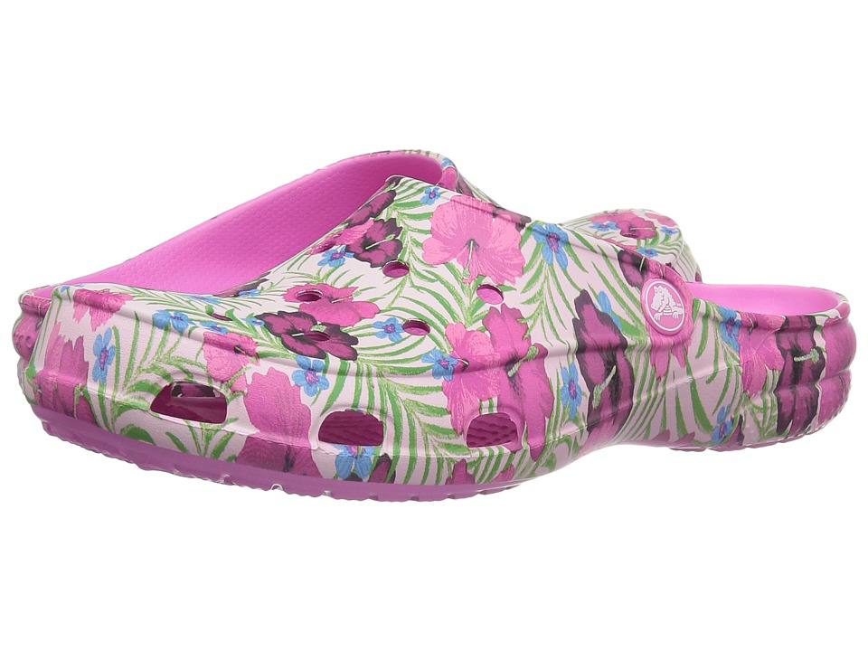 Crocs - Freesail Graphic Clog (Pink/Floral) Women's Clog/Mule Shoes