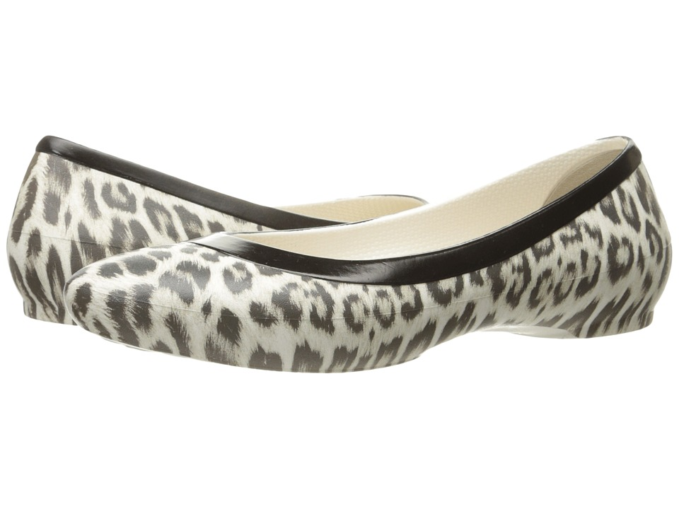 Crocs - Lina Graphic Flat (Leopard/Oyster) Women's Flat Shoes