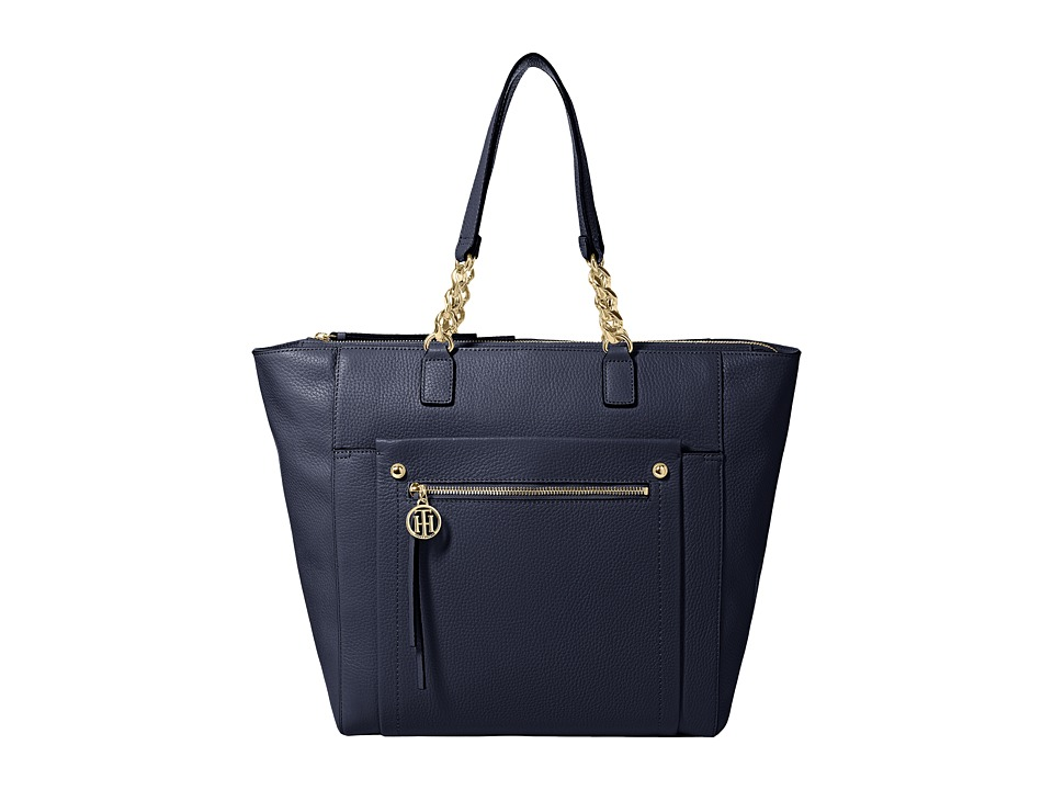 Tommy Hilfiger - Tessa - Pebble Leather Tote (Tommy Navy) Tote Handbags