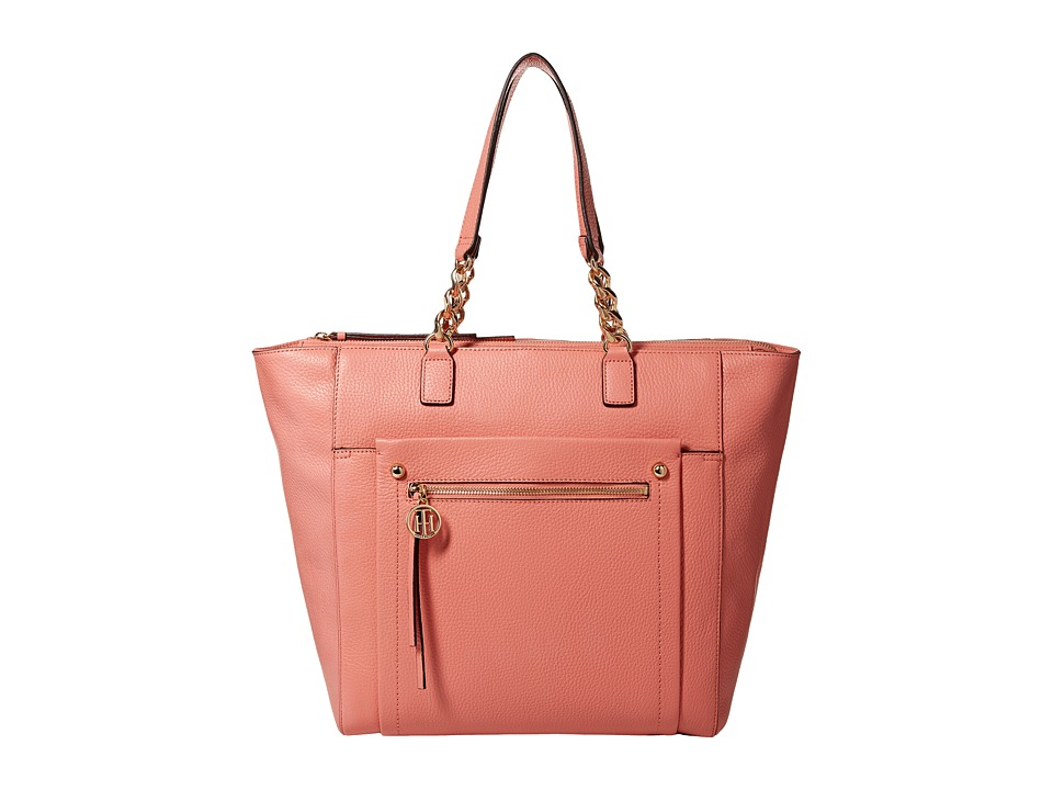 Tommy Hilfiger - Tessa - Pebble Leather Tote (Coral) Tote Handbags