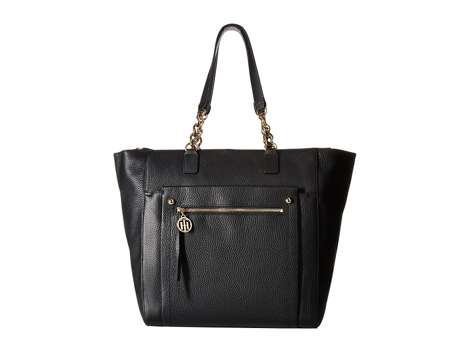 Tommy Hilfiger - Tessa - Pebble Leather Tote (Black) Tote Handbags