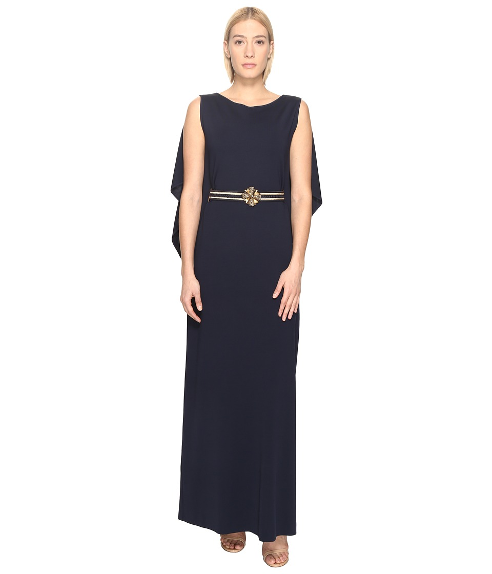 Alberta Ferretti Draped Sleeve Gown (Blue) Women