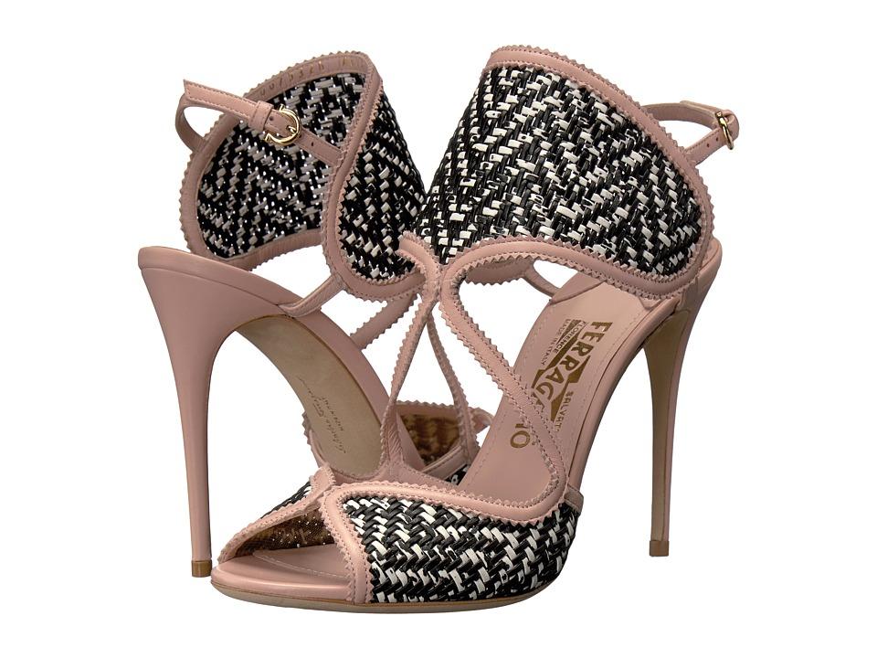 Salvatore Ferragamo Elisea Twist (Bianco/Nero Nappa Leather) High Heels
