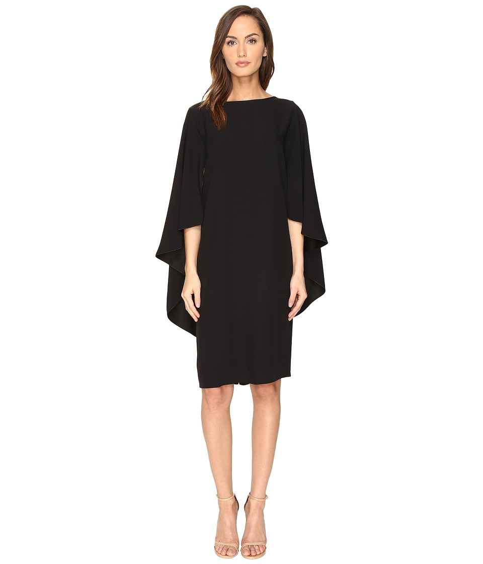 Alberta Ferretti - Boat Neck Cape Dress (Black) Women's Dress