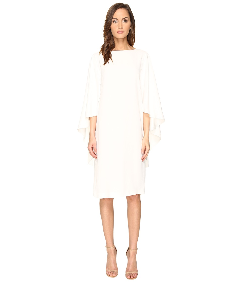 Alberta Ferretti - Boat Neck Cape Dress (White) Women's Dress
