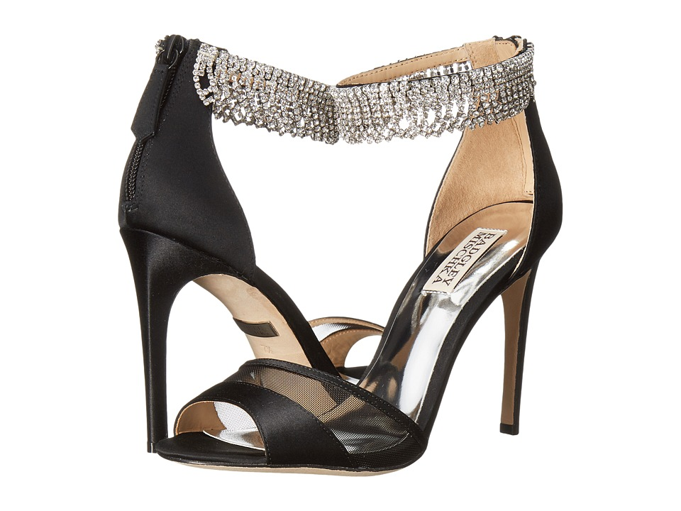 Badgley Mischka Gazelle (Black Satin/Mesh) High Heels