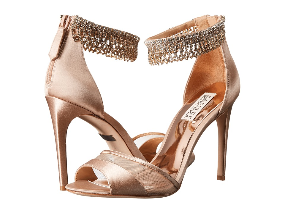 Badgley Mischka Gazelle (Latte Satin/Mesh) High Heels