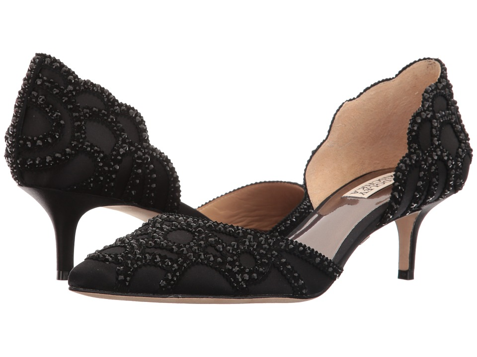 Badgley Mischka Ginny (Black Satin/Suede) Women