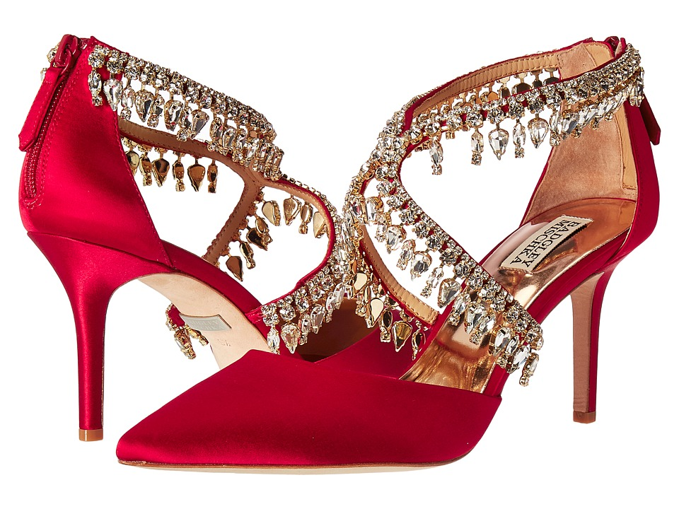Badgley Mischka - Glamour (Ruby Red Satin) High Heels