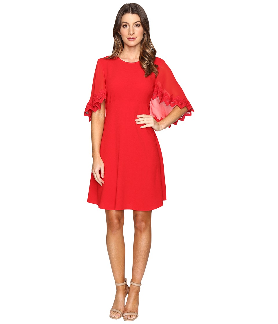Taylor - Stretch Crepe Caplet Dress (Red) Women's Dress