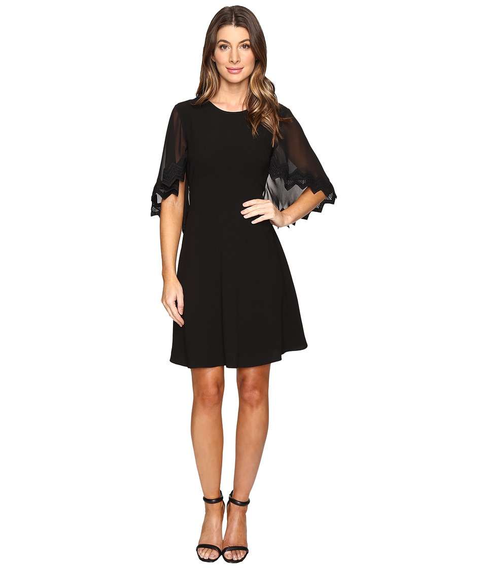 Taylor Stretch Crepe Caplet Dress (Black) Women