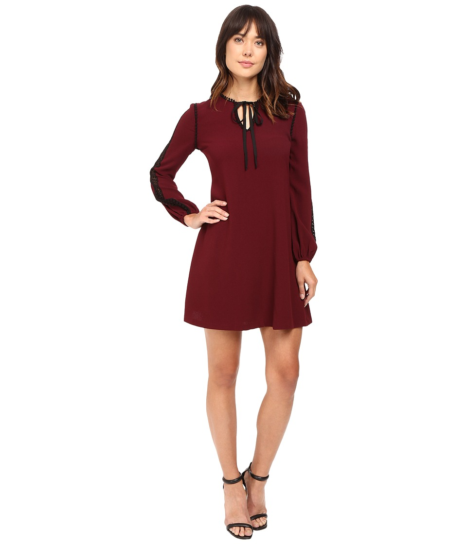 Taylor Stretch Crepe Long Sleeve Trapez Dress (Wine) Women
