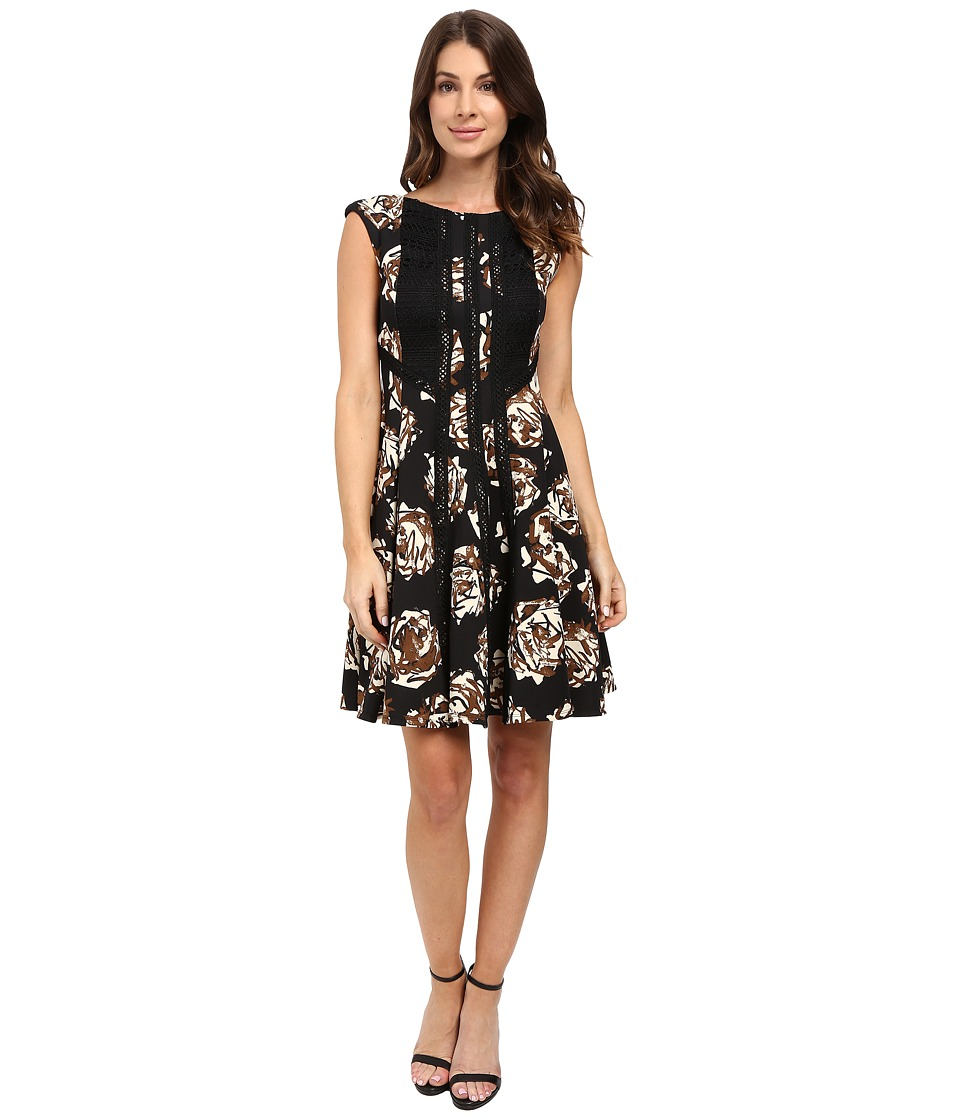 Taylor - Printed Scuba Fit Flair Dress (Black/Carob) Women's Dress