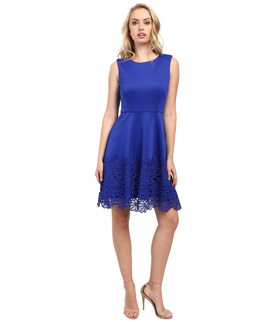 Taylor - Scuba/Lace Fit Flare Dress (Cobalt) Women's Dress