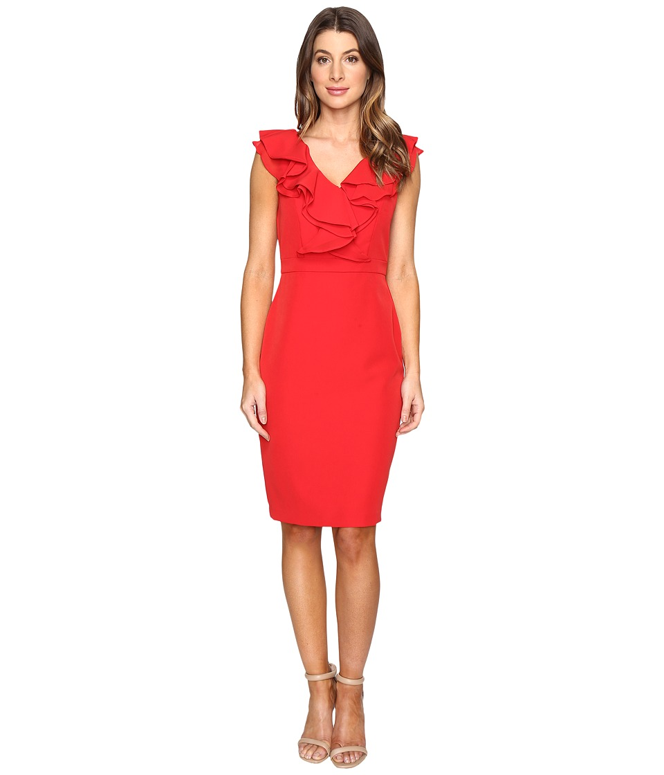 Taylor Stretch Crepe Ruffle Dress (Red) Women