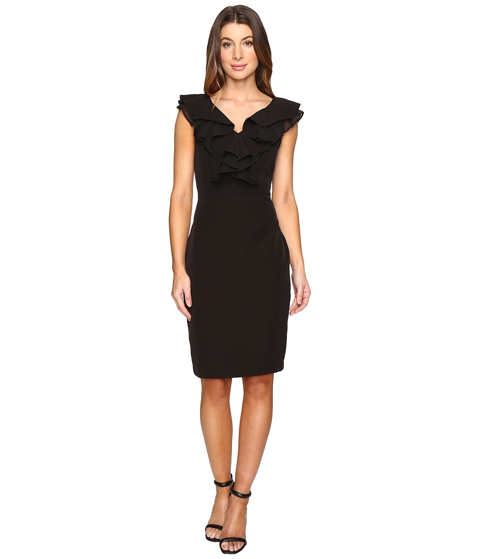 Taylor - Stretch Crepe Ruffle Dress (Black) Women's Dress