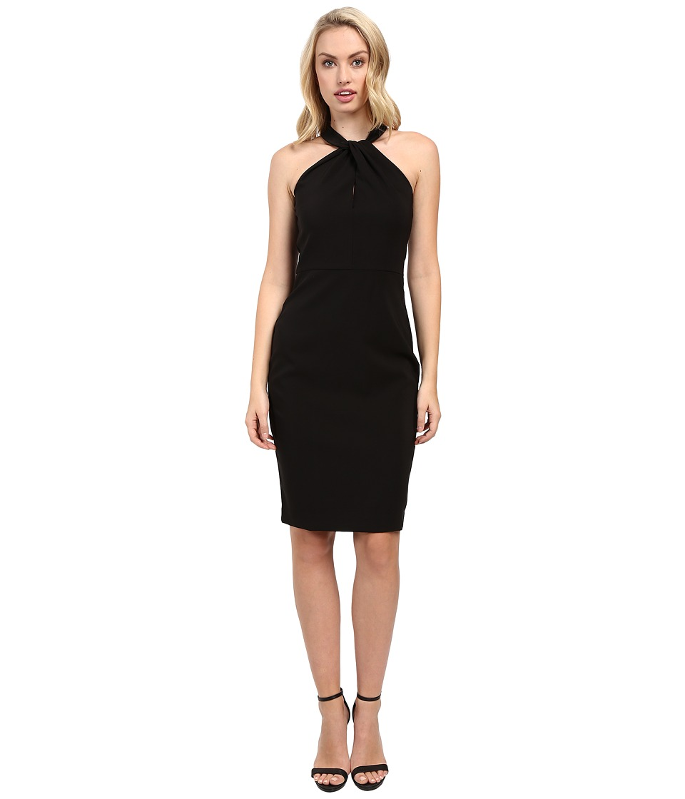 Taylor - Stretch Crepe Twist Neck Dress (Black) Women's Dress