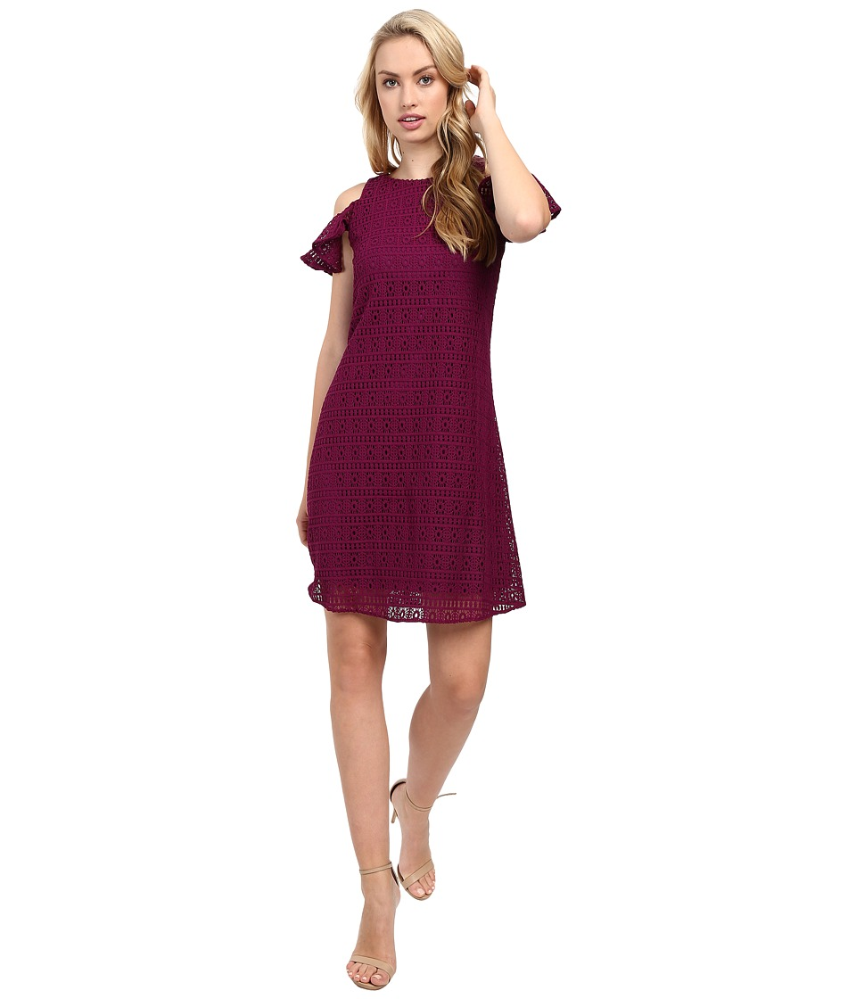 Taylor - Crochet Lace Cold Shoulder Dress (Raspberry) Women's Dress