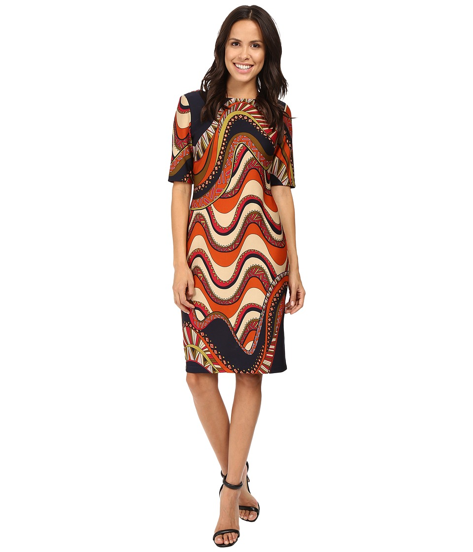 Taylor - Printed Scuba Midi Dress (Navy/Cranberry) Women's Dress