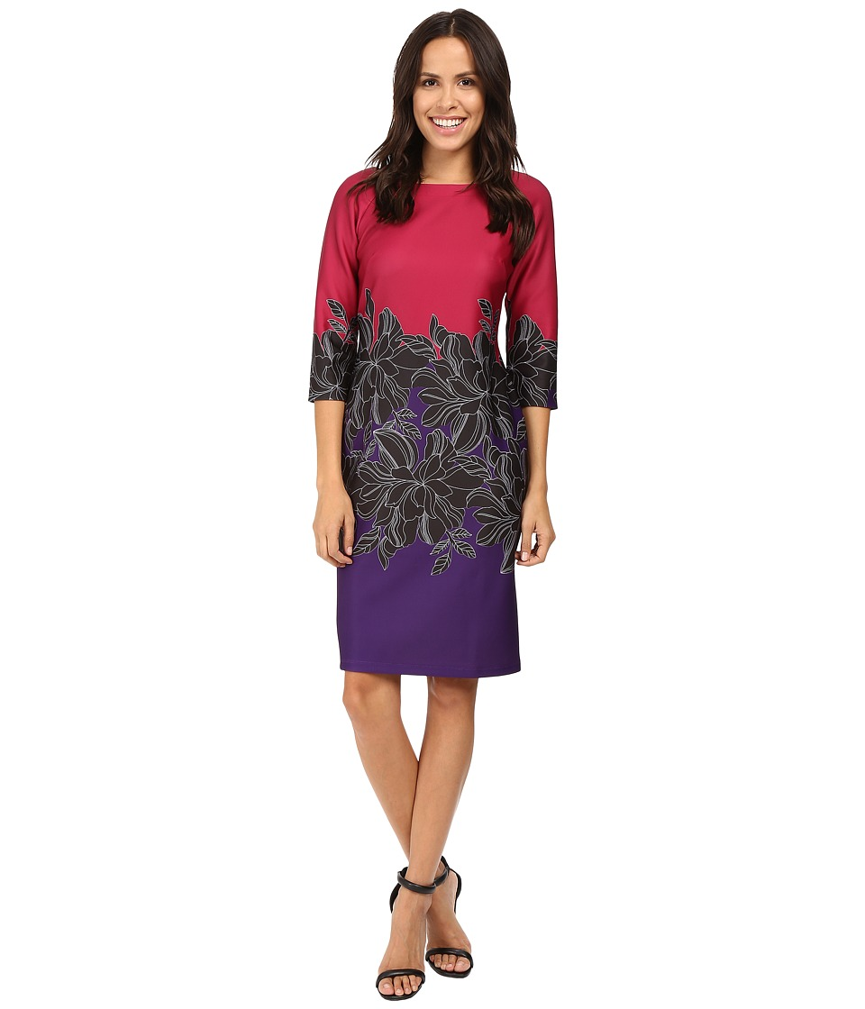 Taylor - Printed Scuba Midi Dress (Fuchsia/Purple/Black) Women's Dress