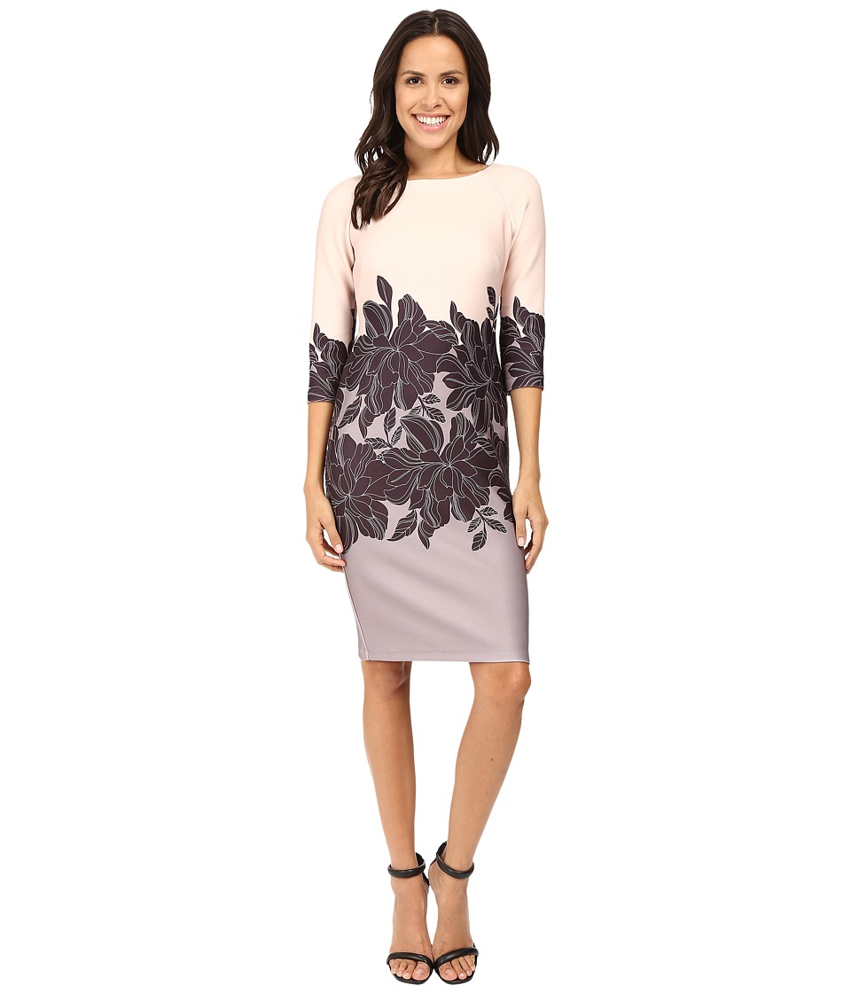 Taylor - Printed Scuba Midi Dress (Black/Taupe) Women