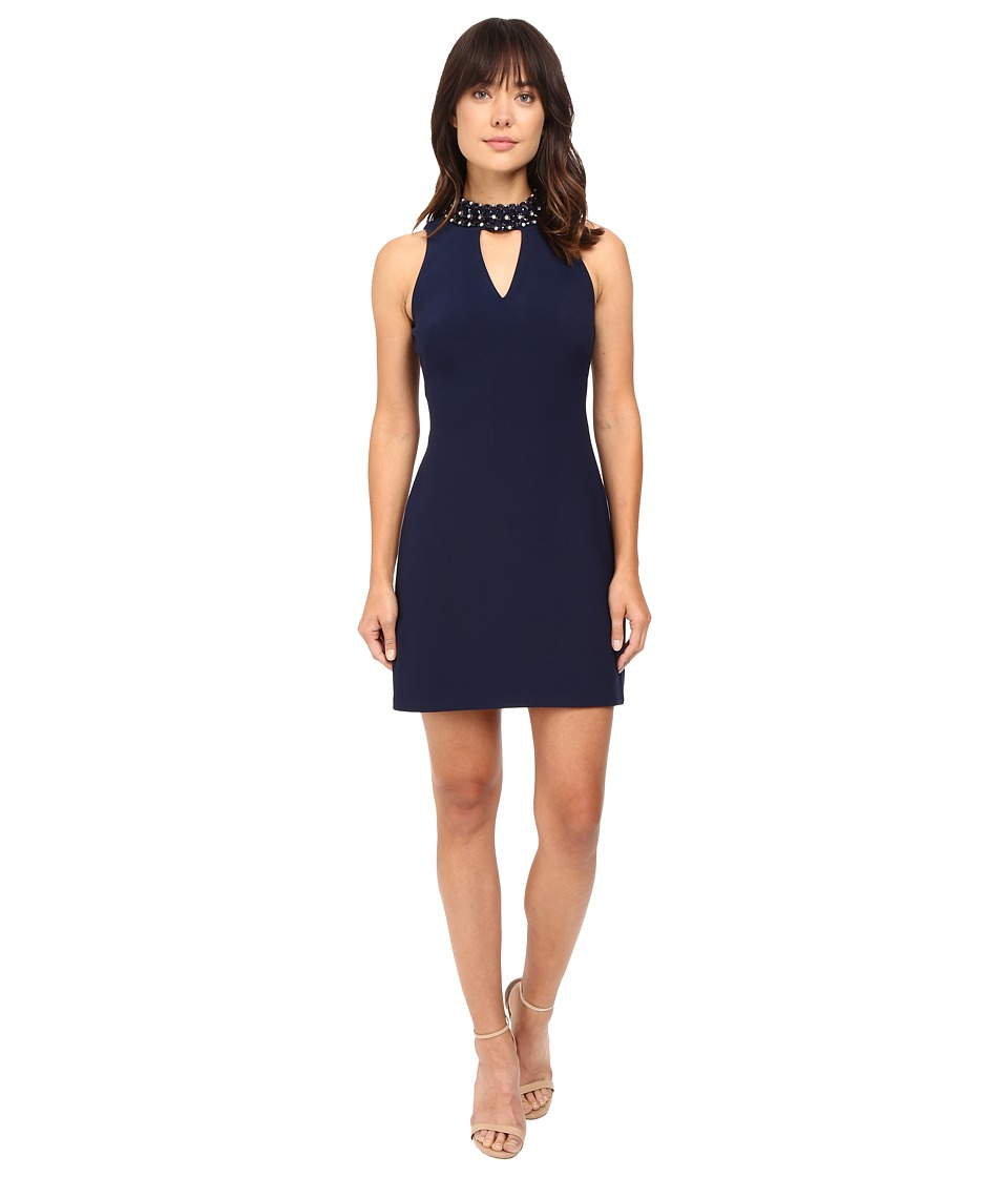 Taylor - Crepe Jewel Neck A-Line Dress (Navy) Women's Dress