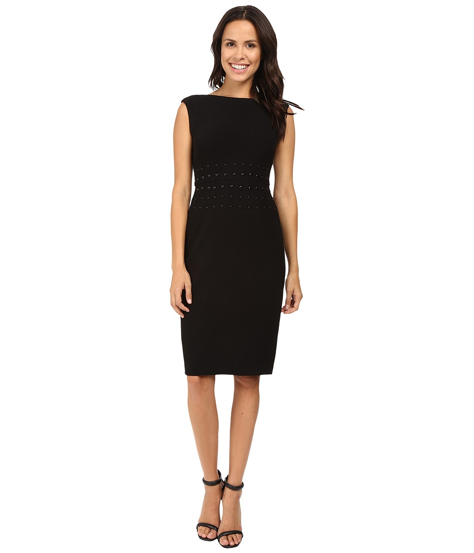 Taylor - Stretch Crepe with Studs Dress (Black) Women's Dress