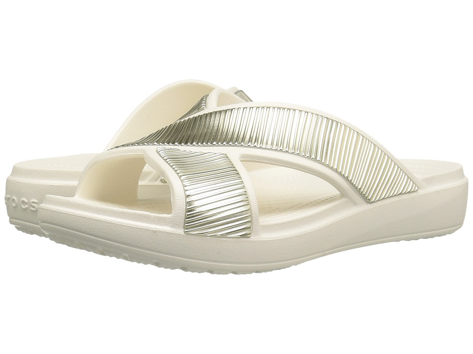 Crocs - Sloane Embellished Xstrap (Oyster/Gold) Women's Sandals