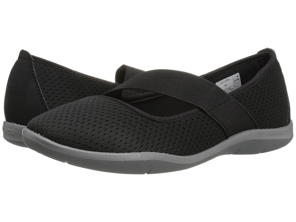 Crocs - Swiftwater Flat (Black/Smoke) Women's Flat Shoes