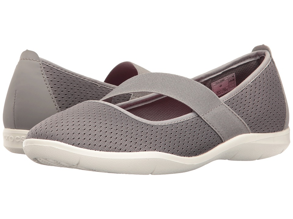 Crocs - Swiftwater Flat (Smoke/White) Women's Flat Shoes