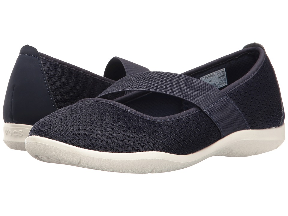 Crocs - Swiftwater Flat (Navy/White) Women's Flat Shoes