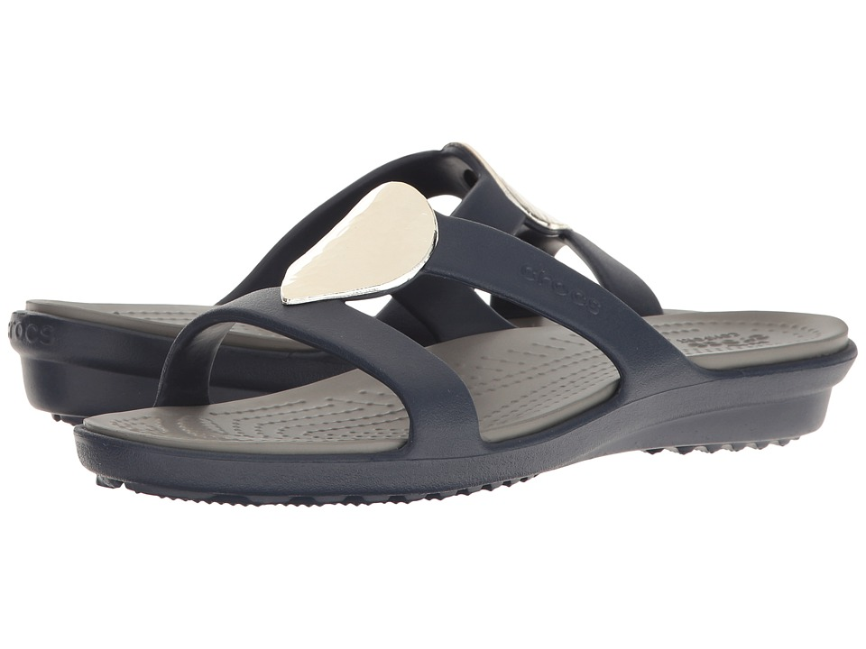 Crocs - Sanrah Embellished Sandal (Navy/Silver) Women's Sandals